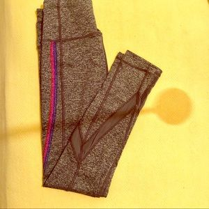 Heathered grey leggings w/ pink, purple, mesh!
